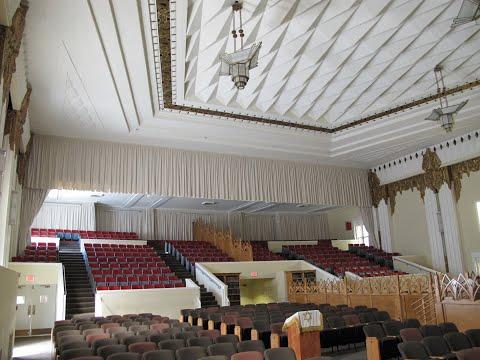 Acoustical room dividing curtains for the B'nai David Judea Congregation. Velour IFR 100% fullness