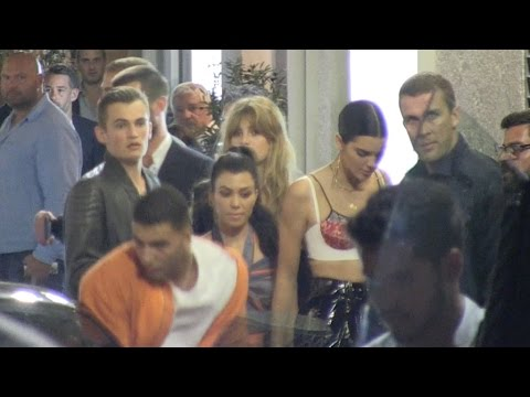 EXCLUSIVE - Kourtney Kardashian, Younes Benjima and Kendall Jenner at Michelangelo in Antibes