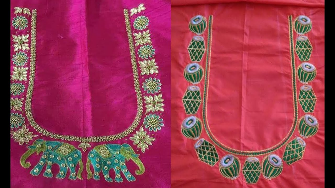 b6ce5f7ed8be2 Latest Thread Embroidery Work Blouse Back Neck Designs For Pattu Saree