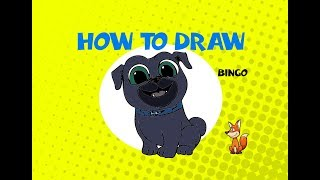 How to draw Bingo from Puppy Dog Pals - Learn to Draw -  ART LESSON arte