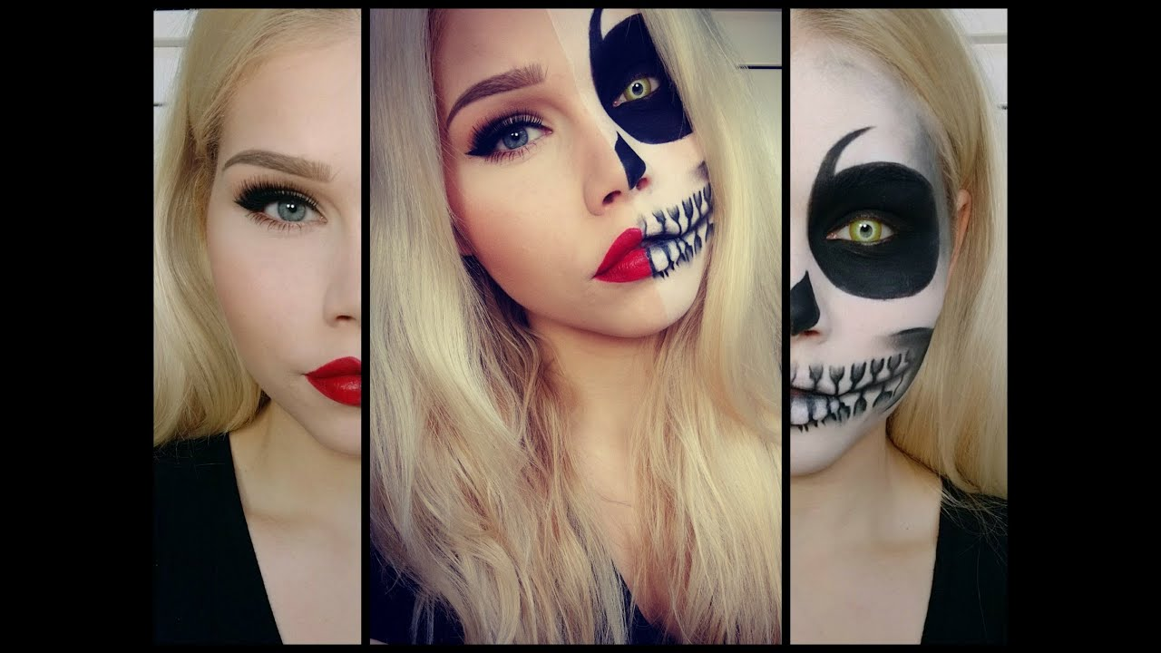 halloween half skull half pretty face make up vanessa