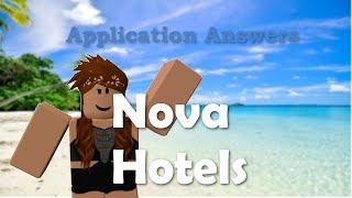 Nova Hotels Application Answers   ROBLOX