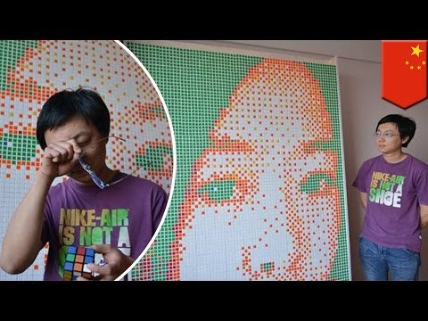 Man proposes with 840 Rubik's cubes of dream girl's face, but woman says, 'no' - TomoNews