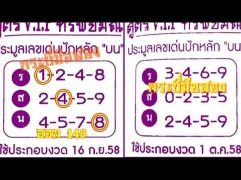 เลขเด็ด 1/10/58 สูตรVIPทรัพย์มณี หวย งวดวันที่ 1 ตุลาคม 2558