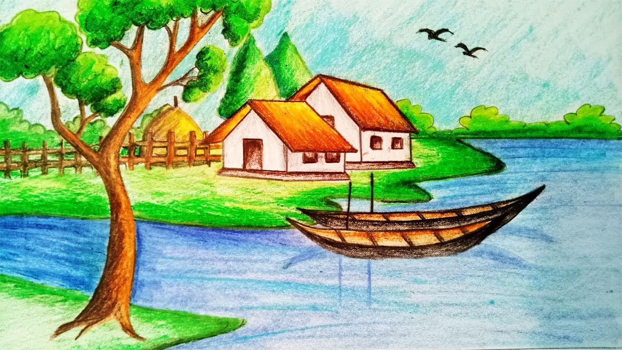 how to draw riverside village scenerystep by stepeasy