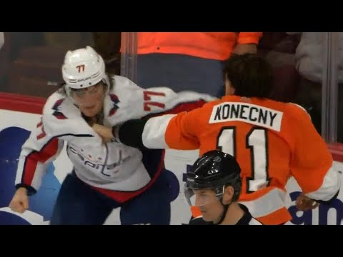 Oshie and Konecny go toe-to-toe in a long tilt