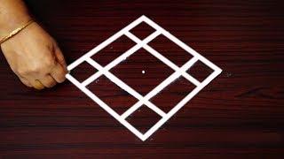 Simple new padi kolam with 5 dots - How to draw geethala muggulu - colorful rangoli designs