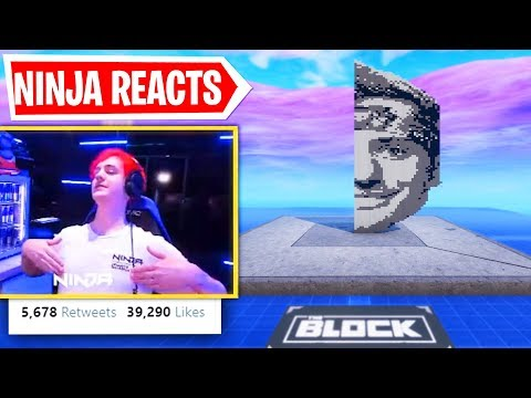 Ninja Reacts To BUILDING NINJA PIXEL ART (Fortnite Creative Mode)