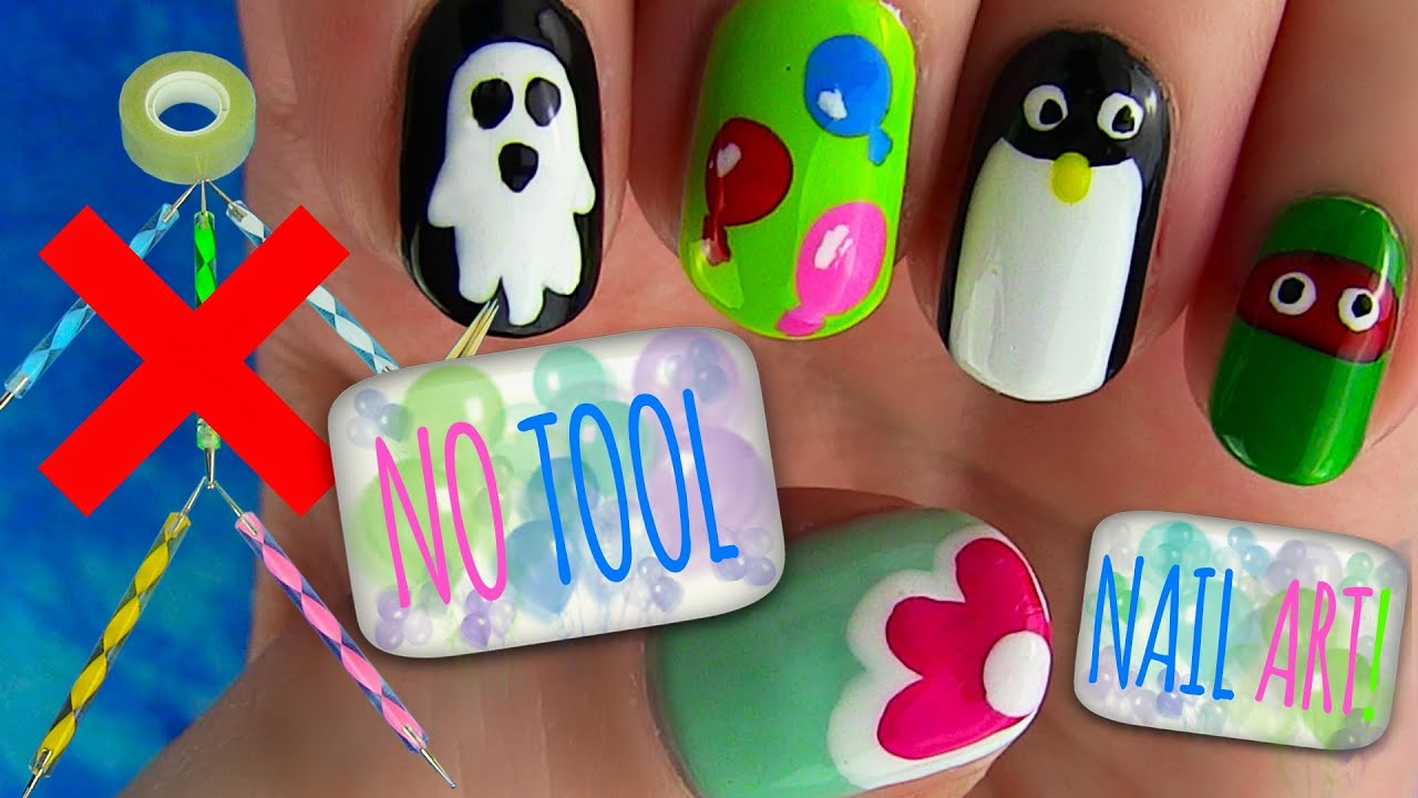 No Tool Nails Tutorial! 5 Nail Art Designs - YouTube