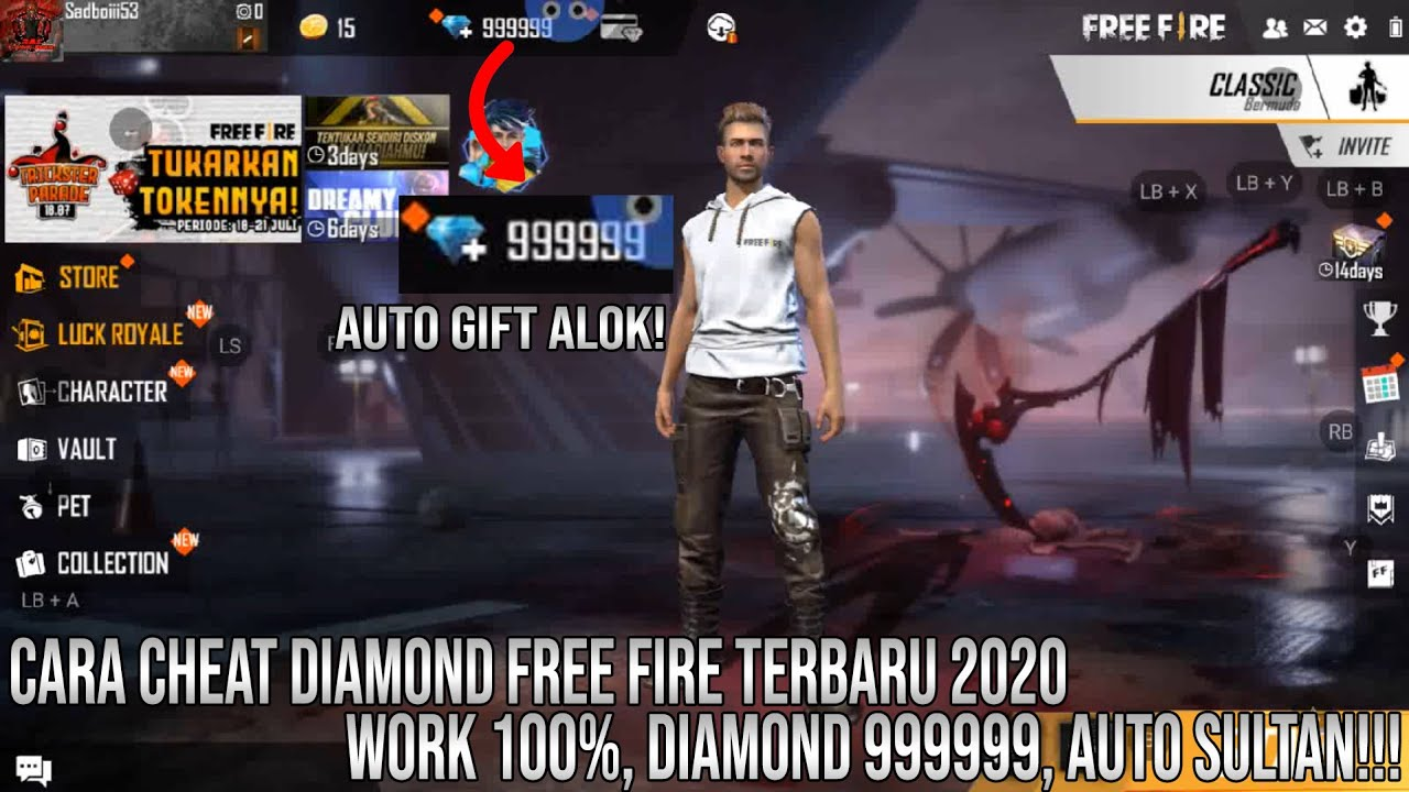 Cara Cheat Diamond Free Fire Terbaru 2020 Auto Sultan Free Fire Youtube