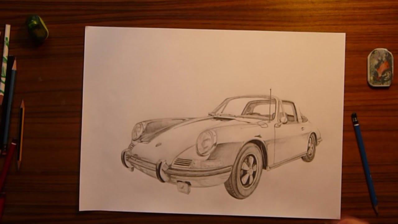 Porsche 911 Targa Speed Drawing Grey Pencil Youtube