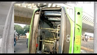 New Delhi: Several injured as DTC bus overturns after collision with truck