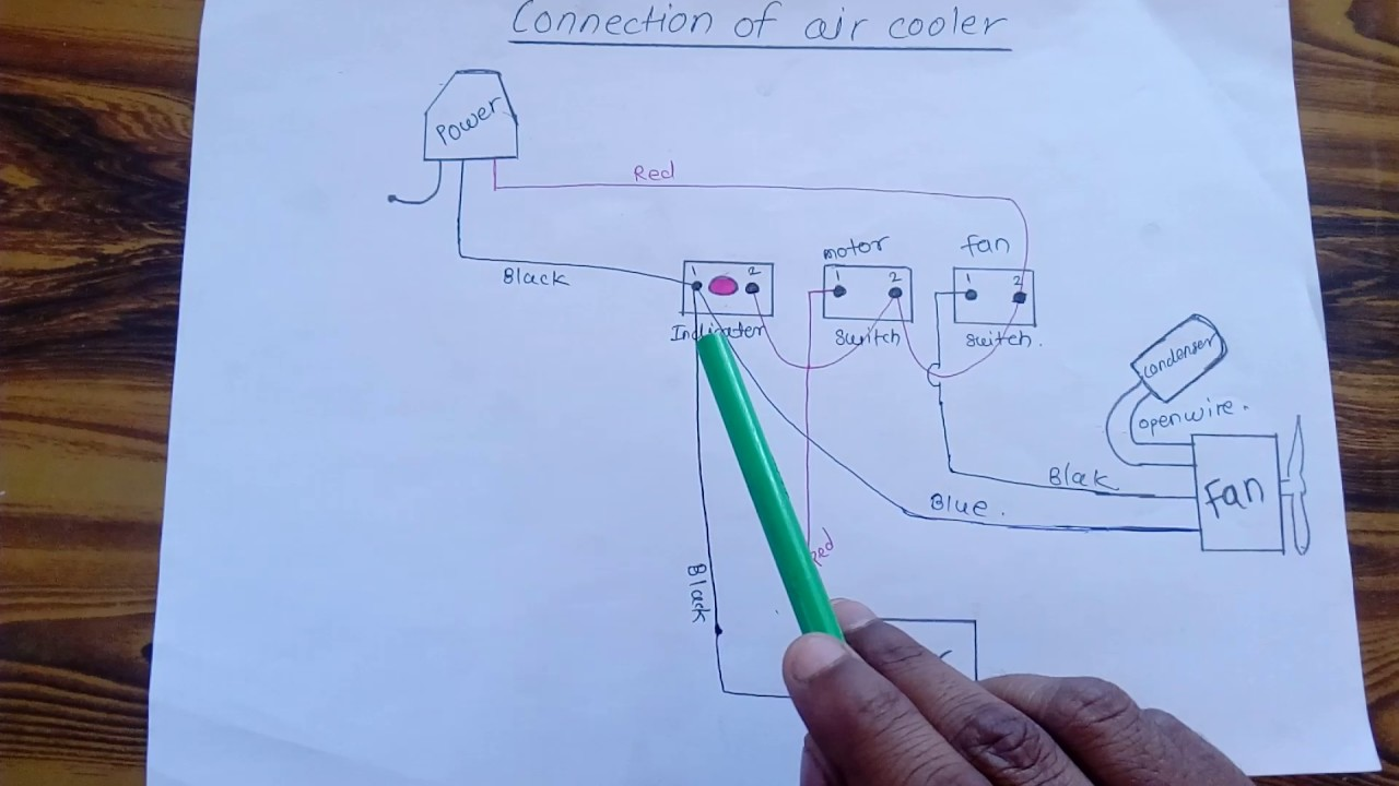 how to make connection of cooler motor and fan at home in evaporative cooler diagram evaporative cooler diagram [ 1280 x 720 Pixel ]