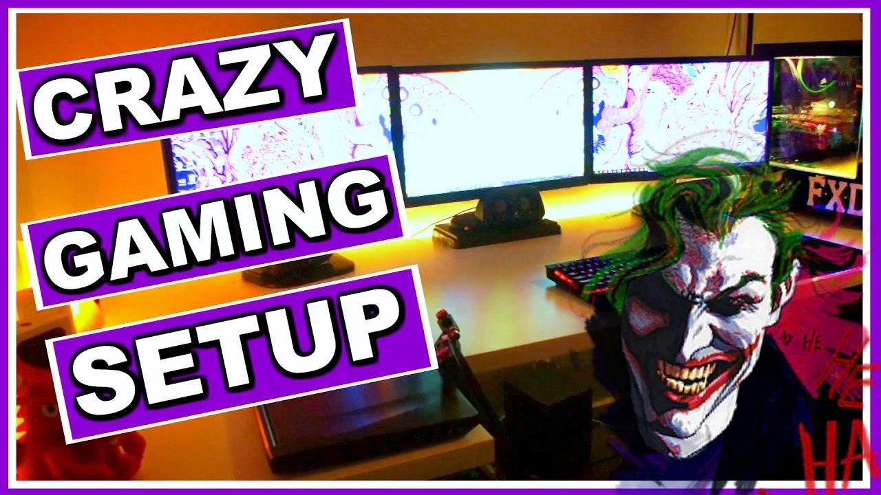 crazy rgb the joker themed gaming pc setup room tour. Black Bedroom Furniture Sets. Home Design Ideas