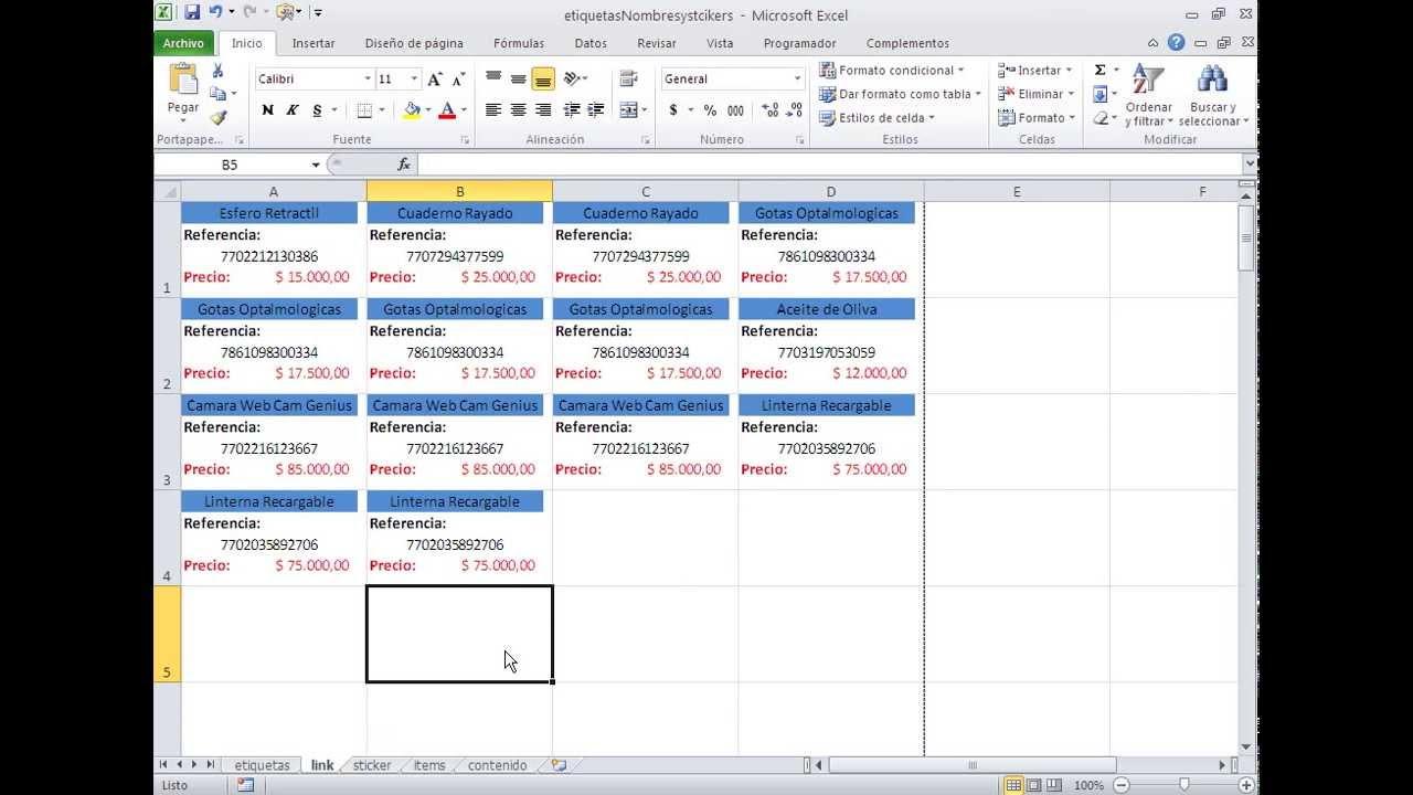 Plantilla Premium: Imprimiendo etiquetas adhesivas de Excel ...
