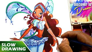 How to draw winx club ✤ Aisha ✤ believix   Fairy Form Slow mode