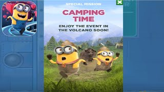 Minion Rush Camping Time Special Mission in the VOLKANO SOON - gameplay walkthrough - iOs & android