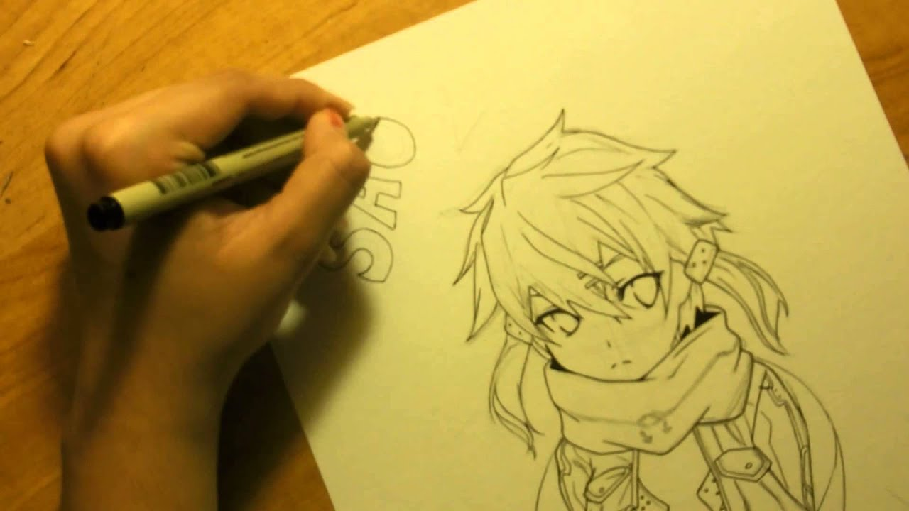 Drawing Sinon from Sword Art Online II (and Watercolor) - YouTube