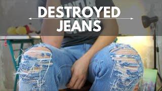 Como fazer - Jeans Destroyed ( calca rasgada )