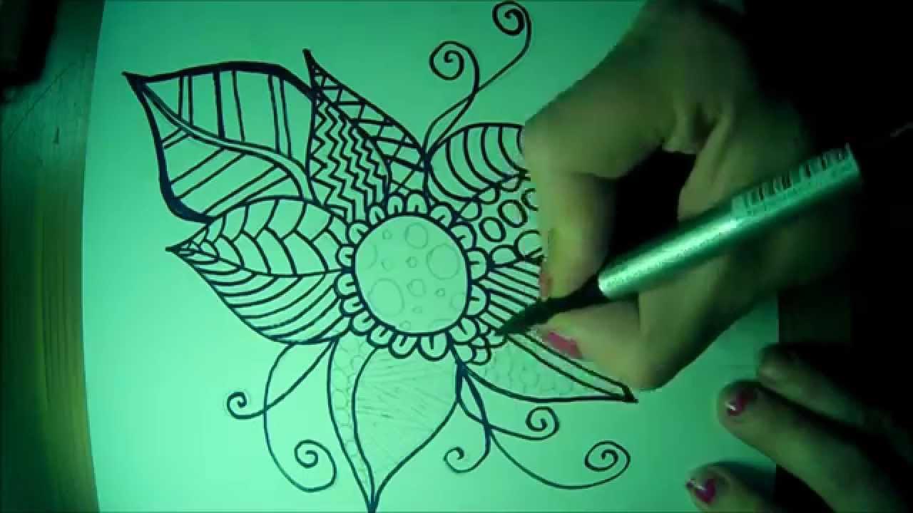 Easy zentangle flower doodle part 2 , YouTube