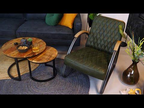 Ledersessel Ivy Industrial Design olivgrün