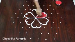 9 dots colour kolam for sankranthi * beautifull lotus rangoli design * best kolam