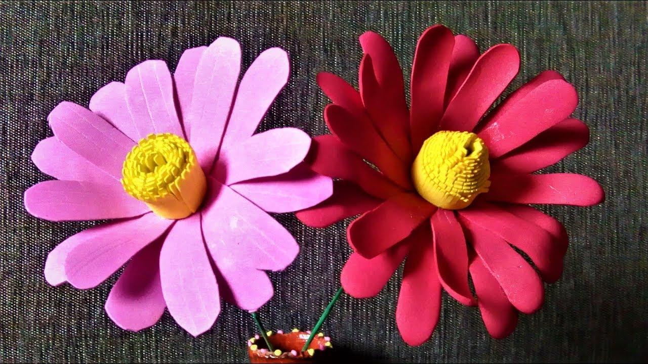 How to make Foam Sheet Flowers# Easy Foam Flowers by Shital Mahajan ...