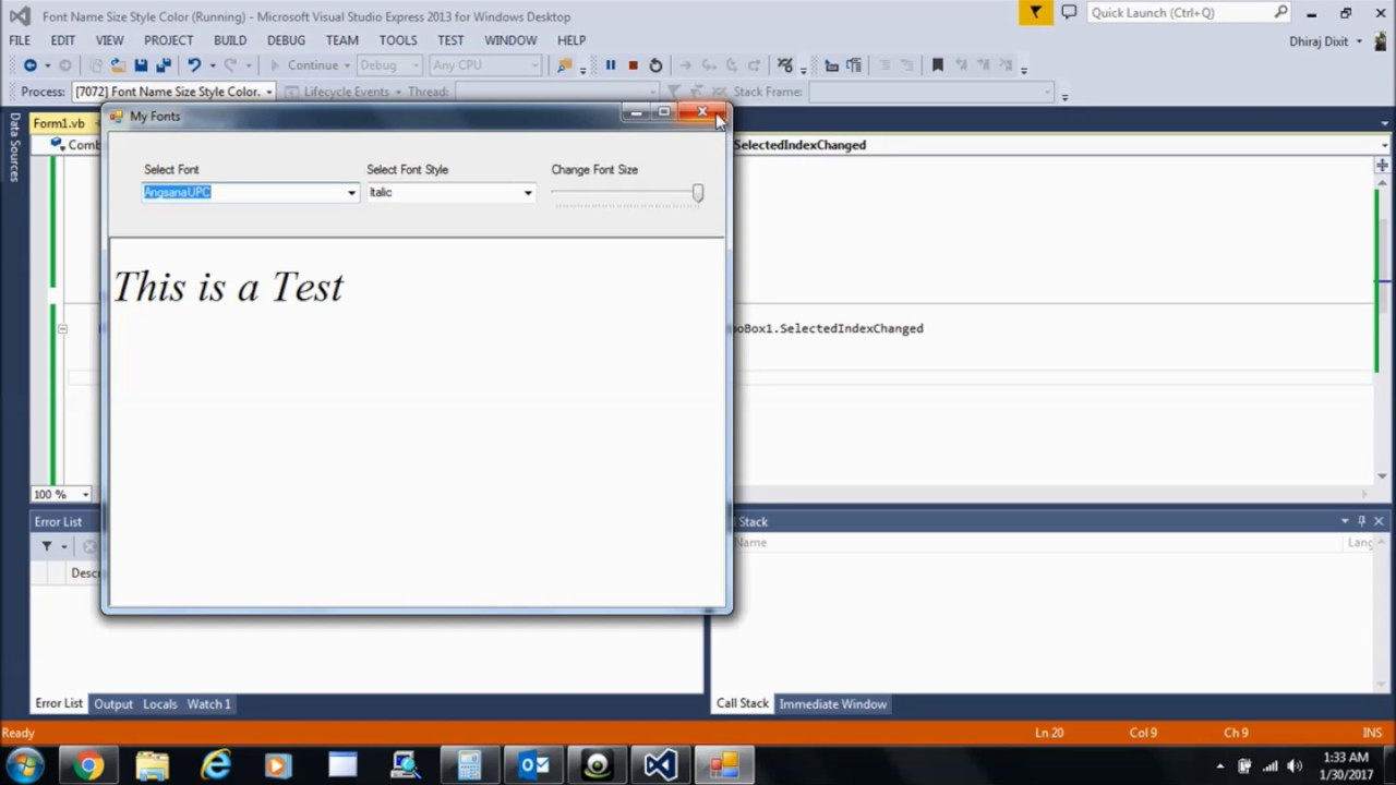 How to Change name, font size, and the styles in Runtime : Visual Basic  Programming