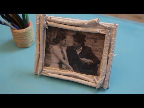 Manualidad portaretrato rustico palos y carton vintage - Marcos rusticos para fotos ...