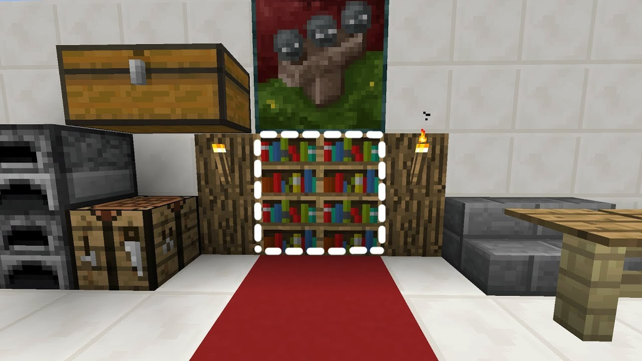 CÁCH LÀM TỦ SÁCH BÍ MẬT GIẤU TRONG BỨC TƯỜNG TRONG MCPE | Minecraft 1.2