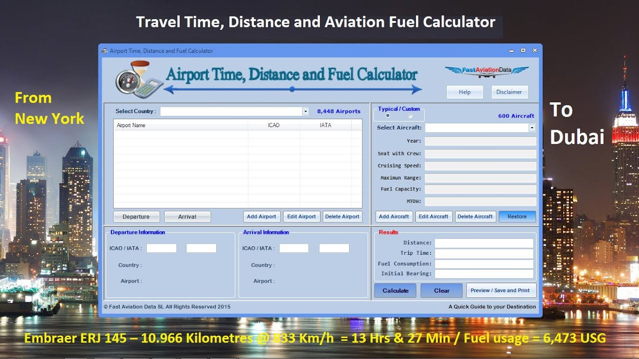 Airport Time, Distance & Fuel Calculator