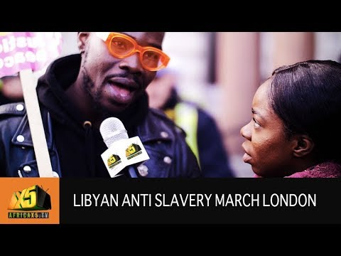 Libyan Embassy Anti Slavery Protest March London [09.12.17]