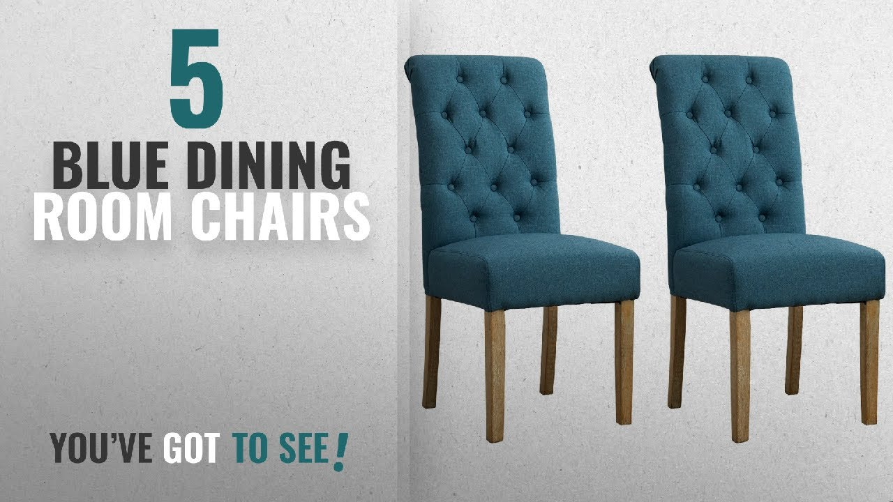 Top 10 Blue Dining Room Chairs 2018 Roundhill Furniture Habit Solid Wood Tufted Parsons