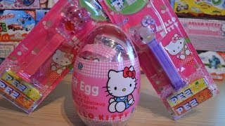 Hello Kitty Surprise Egg PEZ Candy Sweets Haul キティ・ホワイト  Kiti Howaito Kiti-chan Kitty White