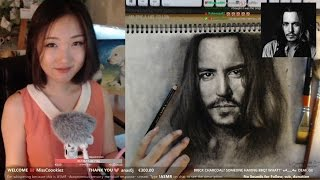 ASMR : DRAWINGASM - My 1st Charcoal Drawing