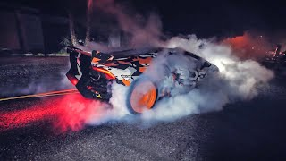 WE TIED DOWN MY LAMBORGHINI TO DO STANDING BURNOUT!