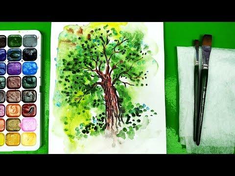 Урок акварель как нарисовать Дерево красками Акварель