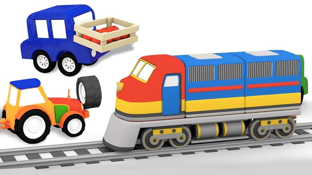 O trem leva produtos para a cidade! 4 carros coloridos. Histórias para crianças. Desenho animado