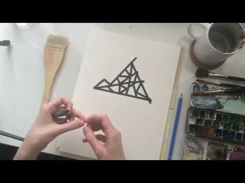 Watercolor painting - modern design Iceberg - timelapse