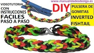 Repeat youtube video COMO HACER PULSERA DE GOMITAS INVERTED FISHTAIL CON UNA PINZA SIN TELAR TUTORIAL ESPAÑOL DIY