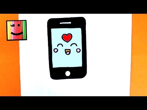 How to draw a super easy and kawaii smartphone step by step