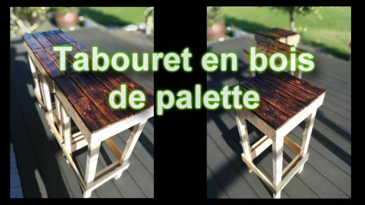 tuto diy tabouret en bois de palette youtube. Black Bedroom Furniture Sets. Home Design Ideas