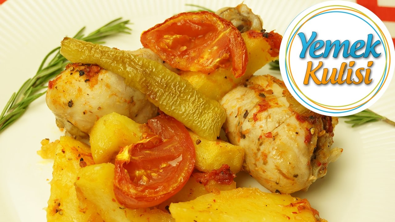 Fırında Soslu Tavuk Baget Ve Baharatlı Patates Tarifi