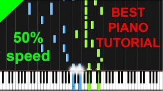 FUN - We Are Young piano DUET 50% speed tutorial