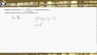 Abitur Mathematik 2012 Bayern - Analysis II Teil 1 Aufgabe 1