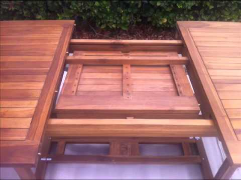 Oceanic Teak Furniture Ocean 95in Table Extension Leaf In Operation