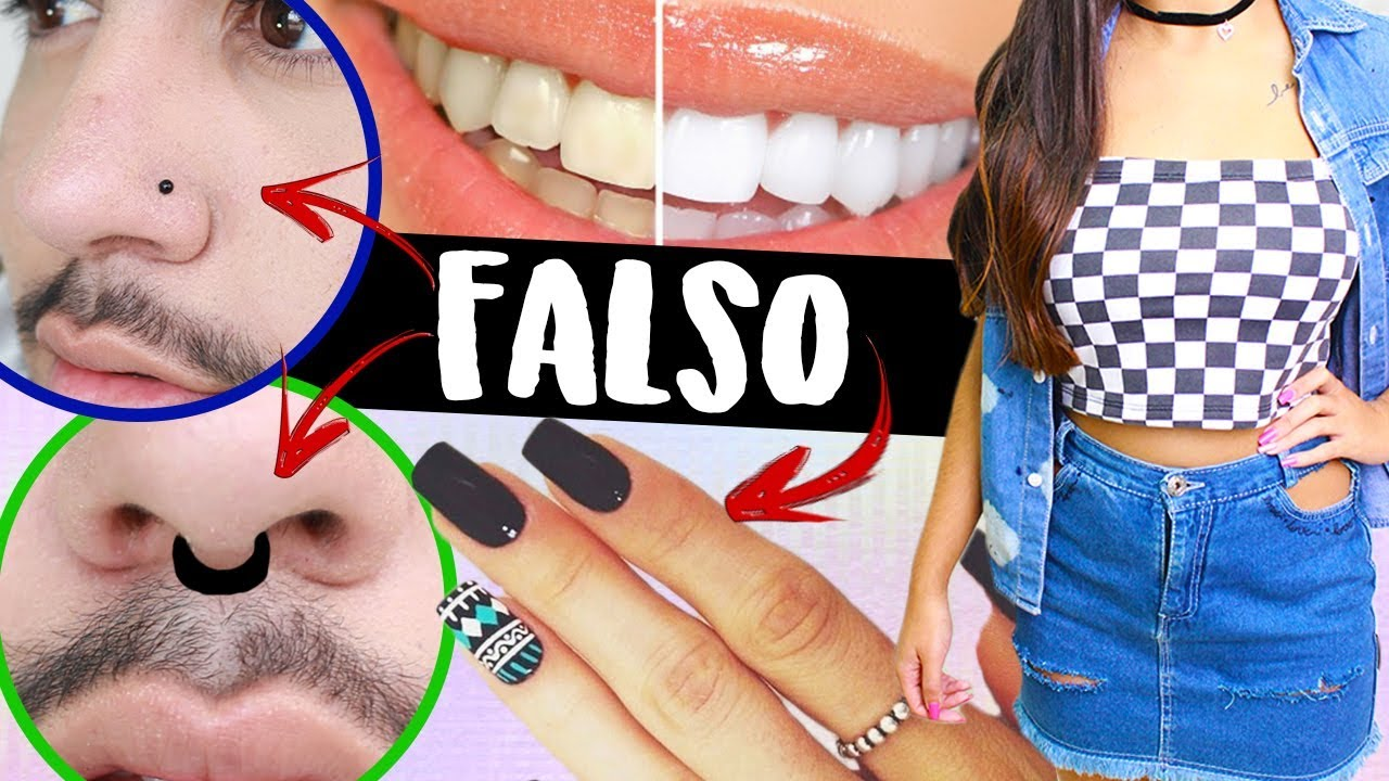 Manual Adolescente 3 Dentes Brancos Piercing Fake No Nariz