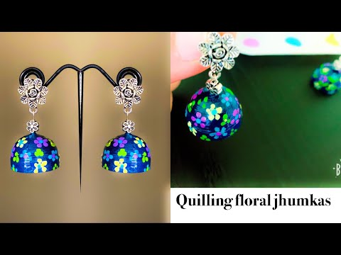 Making Quilling Floral Jhumkas||How to make Paper Earrings Jhumka | Paper Quilling Tutorial