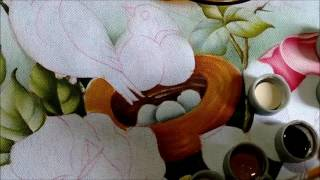 Pintando Pássaro com ninho e ovos – Part. 1 – Ivanice Isabel