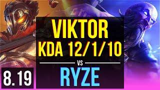 VIKTOR vs RYZE (MID)   KDA 12/1/10, 1100+ games, Legendary   EUW Master   v8.19
